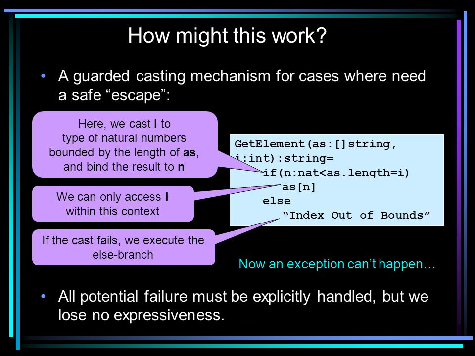 """A guarded casting mechanism for cases where need a safe """"escape"""": All potential failure must be explicitly handled, but we lose no expressiveness. How"""