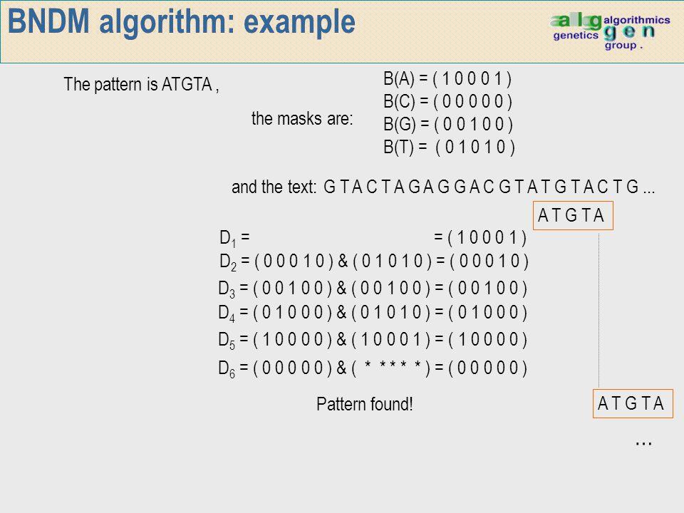 BNDM algorithm: example A T G T A The pattern is ATGTA, the masks are: and the text:G T A C T A G A G G A C G T A T G T A C T G... A T G T A B(A) = (