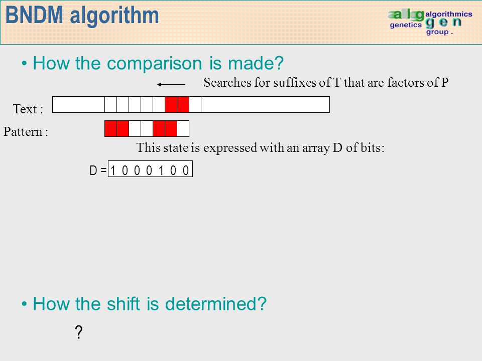 Text : Pattern : Searches for suffixes of T that are factors of P BNDM algorithm How the shift is determined? How the comparison is made? This state i