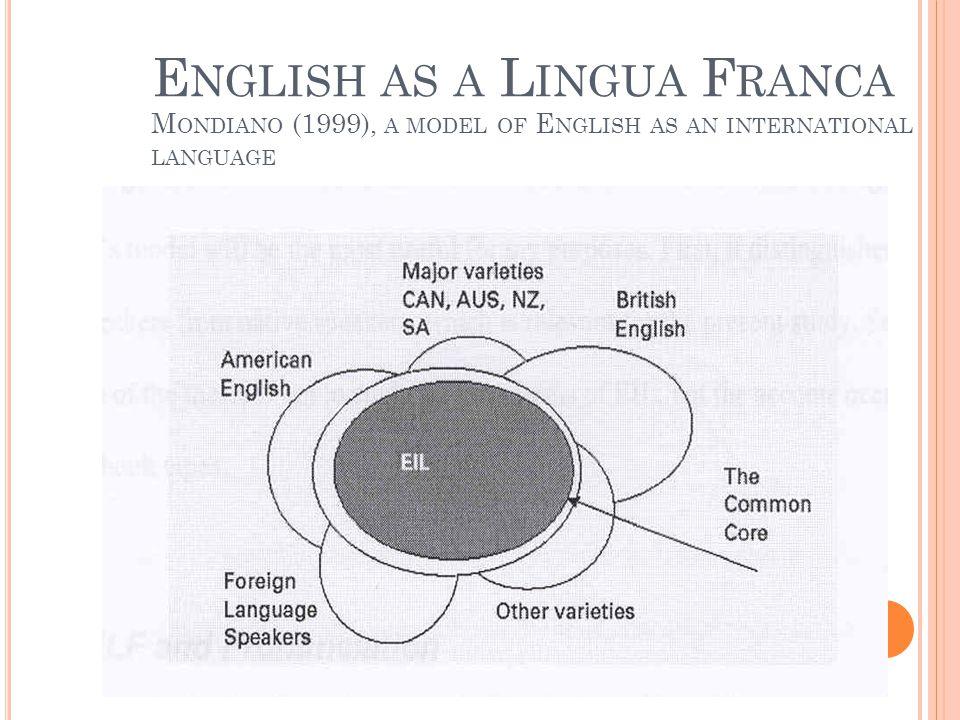 E NGLISH AS A L INGUA F RANCA M ONDIANO (1999), A MODEL OF E NGLISH AS AN INTERNATIONAL LANGUAGE