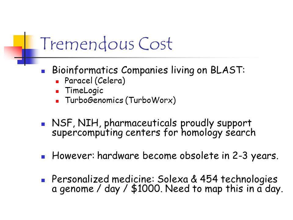 Tremendous Cost Bioinformatics Companies living on BLAST: Paracel (Celera) TimeLogic TurboGenomics (TurboWorx) NSF, NIH, pharmaceuticals proudly suppo