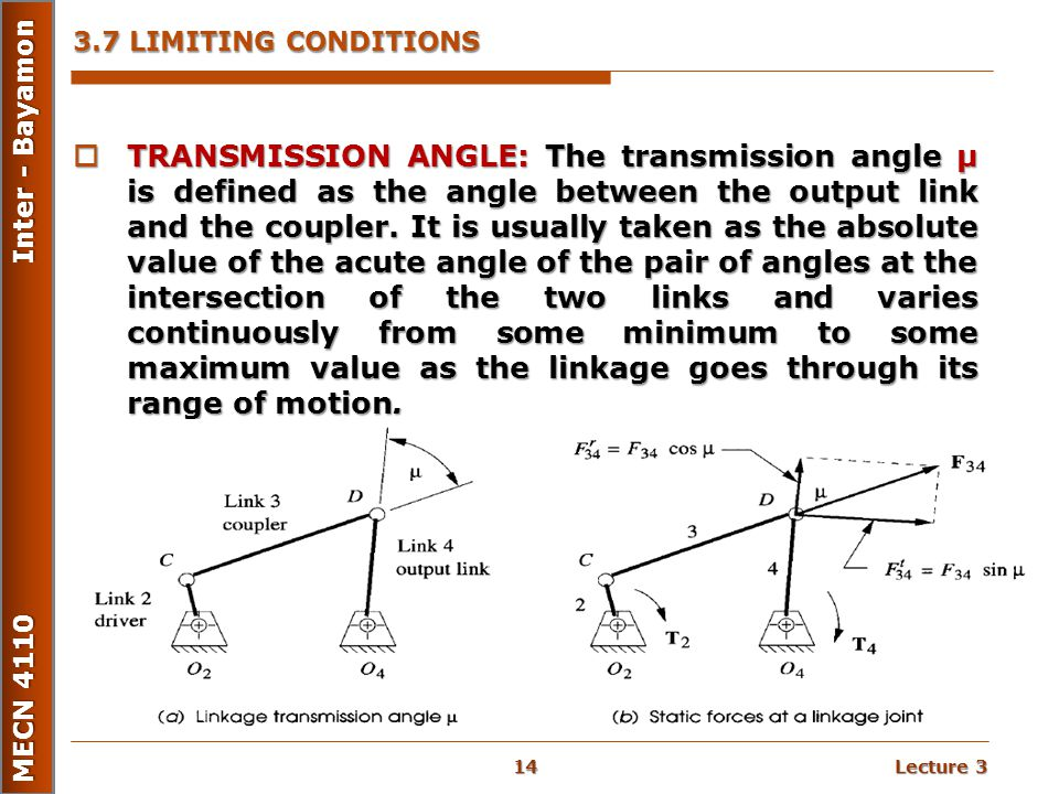 Lecture 3 MECN 4110 Inter - Bayamon 3.7 LIMITING CONDITIONS  TRANSMISSION ANGLE: The transmission angle μ is defined as the angle between the output