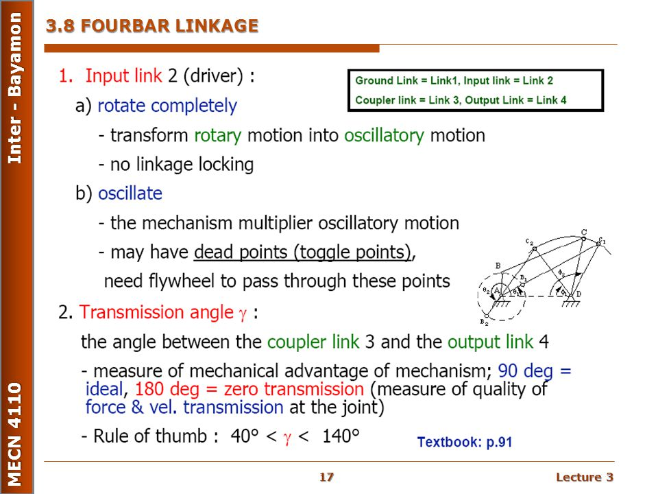 Lecture 3 MECN 4110 Inter - Bayamon 3.8 FOURBAR LINKAGE 17