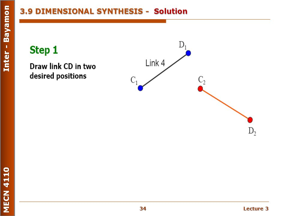 Lecture 3 MECN 4110 Inter - Bayamon 3.9 DIMENSIONAL SYNTHESIS - Solution 34