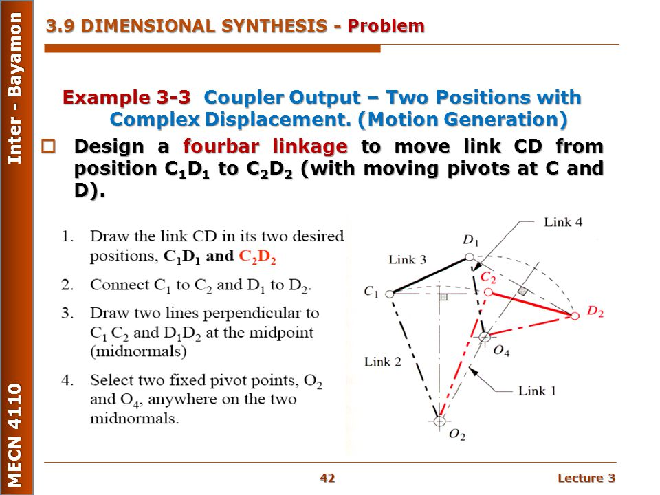 Lecture 3 MECN 4110 Inter - Bayamon 3.9 DIMENSIONAL SYNTHESIS - Problem Example 3-3 Coupler Output – Two Positions with Complex Displacement. (Motion