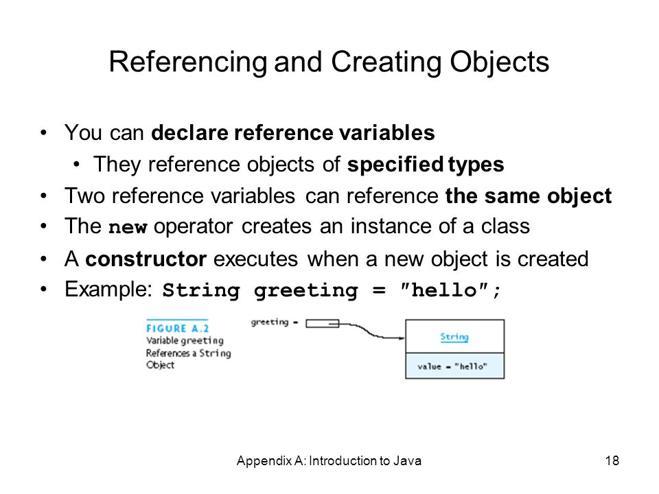 Appendix A: Introduction to Java18 Referencing and Creating Objects You can declare reference variables They reference objects of specified types Two reference variables can reference the same object The new operator creates an instance of a class A constructor executes when a new object is created Example: String greeting = ″hello″;