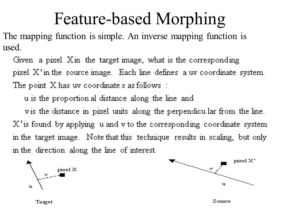Feature-based Morphing The mapping function is simple. An inverse mapping function is used.
