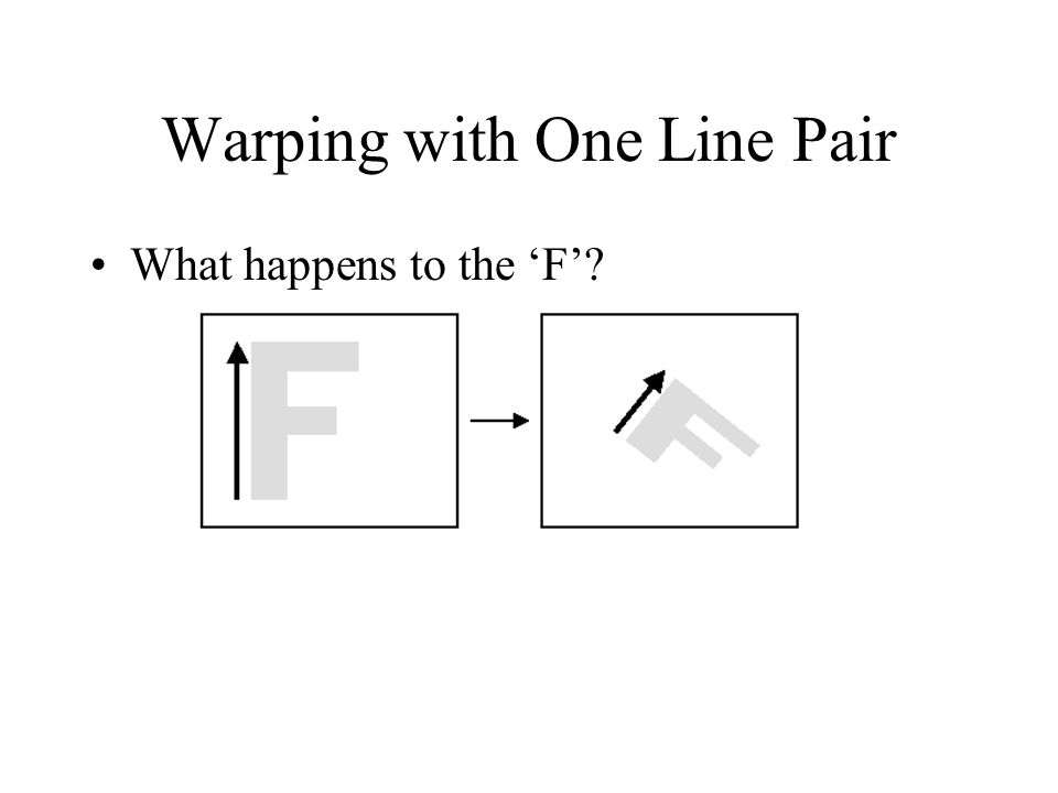 Warping with One Line Pair What happens to the 'F'?