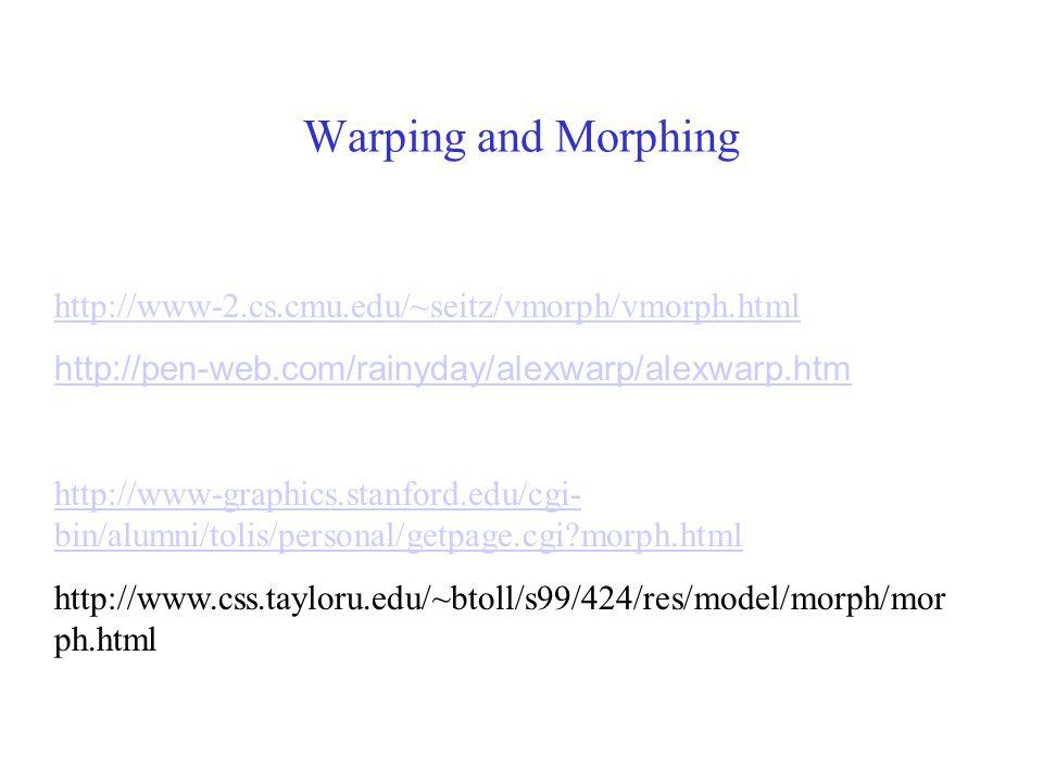 Warping and Morphing http://www-2.cs.cmu.edu/~seitz/vmorph/vmorph.html http://pen-web.com/rainyday/alexwarp/alexwarp.htm http://www-graphics.stanford.edu/cgi- bin/alumni/tolis/personal/getpage.cgi?morph.html http://www.css.tayloru.edu/~btoll/s99/424/res/model/morph/mor ph.html