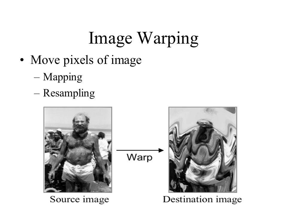 Image Warping Move pixels of image –Mapping –Resampling