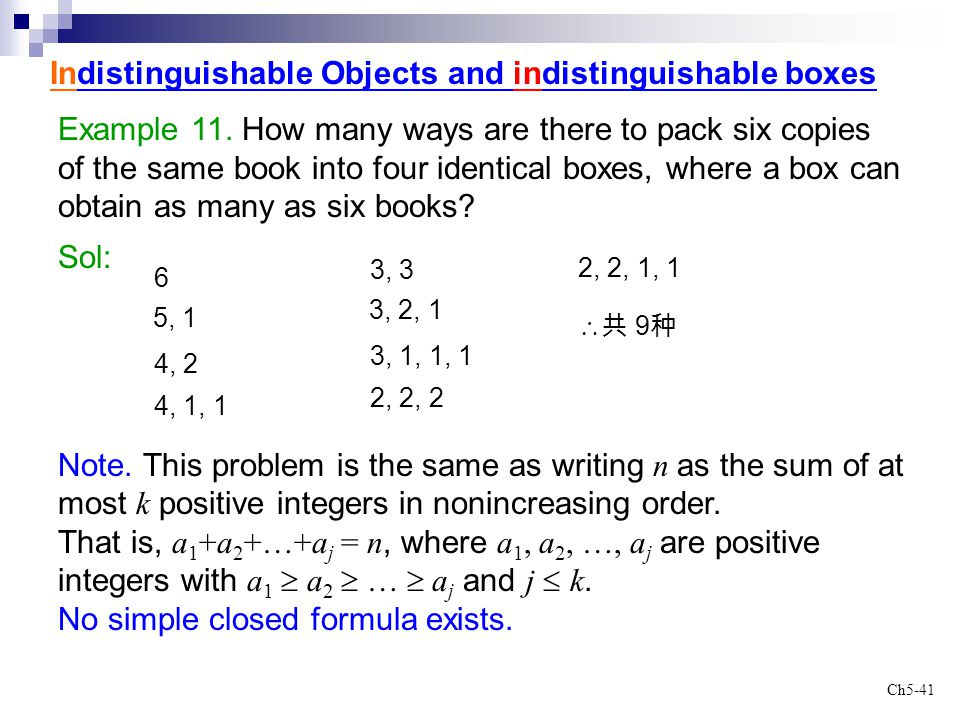 Ch5-41 Indistinguishable Objects and indistinguishable boxes Example 11. How many ways are there to pack six copies of the same book into four identic
