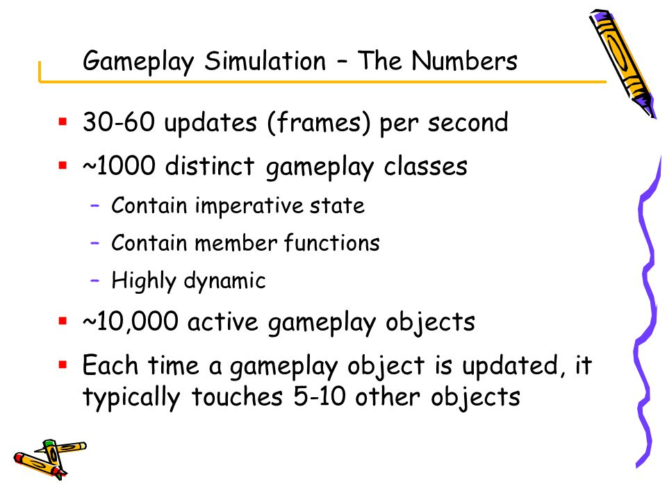 Gameplay Simulation – The Numbers  30-60 updates (frames) per second  ~1000 distinct gameplay classes –Contain imperative state –Contain member functions –Highly dynamic  ~10,000 active gameplay objects  Each time a gameplay object is updated, it typically touches 5-10 other objects
