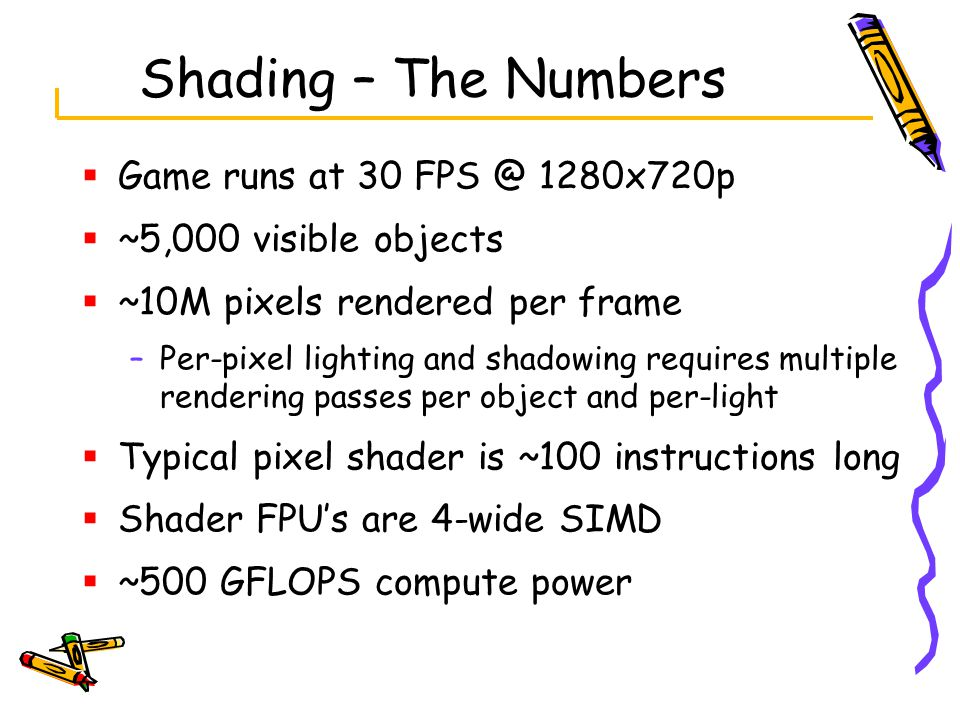 Shading – The Numbers  Game runs at 30 FPS @ 1280x720p  ~5,000 visible objects  ~10M pixels rendered per frame –Per-pixel lighting and shadowing requires multiple rendering passes per object and per-light  Typical pixel shader is ~100 instructions long  Shader FPU's are 4-wide SIMD  ~500 GFLOPS compute power