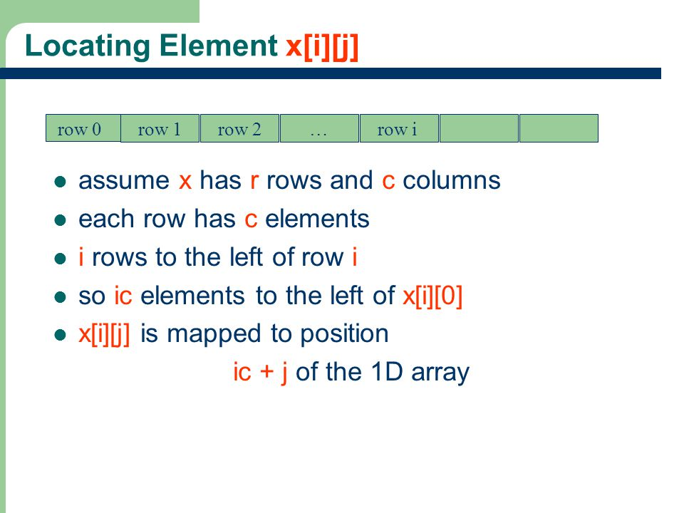 13 Locating Element x[i][j] assume x has r rows and c columns each row has c elements i rows to the left of row i so ic elements to the left of x[i][0] x[i][j] is mapped to position ic + j of the 1D array row 0 row 1row 2…row i 0c2c3cic