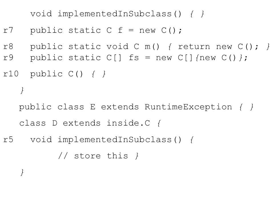 void implementedInSubclass() { } r7public static C f = new C(); r8public static void C m() { return new C(); } r9public static C[] fs = new C[]{new C()}; r10public C() { } } public class E extends RuntimeException { } class D extends inside.C { r5void implementedInSubclass() { // store this } }