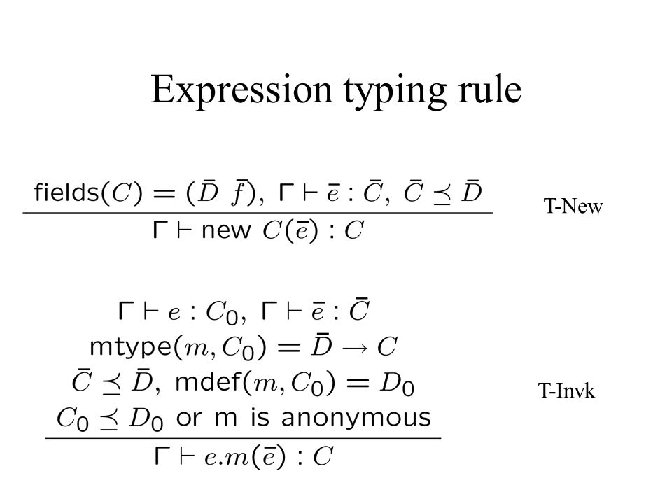 Expression typing rule T-New T-Invk