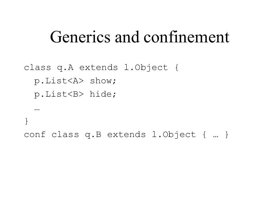 Generics and confinement class q.A extends l.Object { p.List show; p.List hide; … } conf class q.B extends l.Object { … }