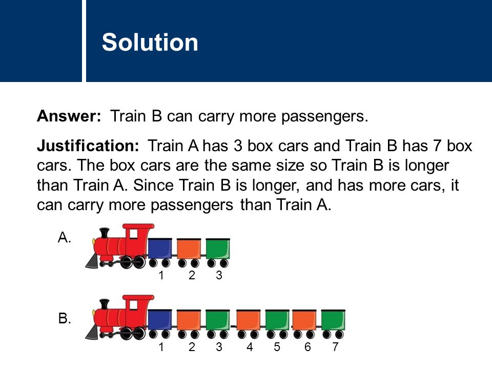Comments Answer: Train B can carry more passengers.