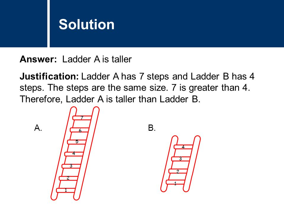Comments Answer: Ladder A is taller Justification: Ladder A has 7 steps and Ladder B has 4 steps. The steps are the same size. 7 is greater than 4. Th