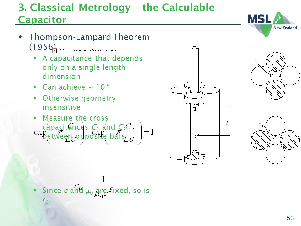 53 3. Classical Metrology – the Calculable Capacitor  Thompson-Lampard Theorem (1956)  A capacitance that depends only on a single length dimension
