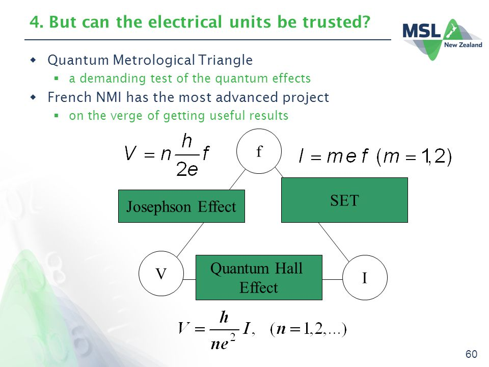 60 4. But can the electrical units be trusted?  Quantum Metrological Triangle  a demanding test of the quantum effects  French NMI has the most adv