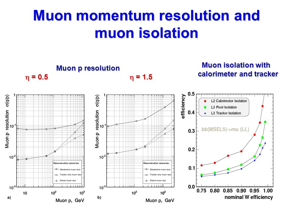 Muon momentum resolution and muon isolation Muon p resolution  = 0.5  = 1.5 Muon isolation with calorimeter and tracker