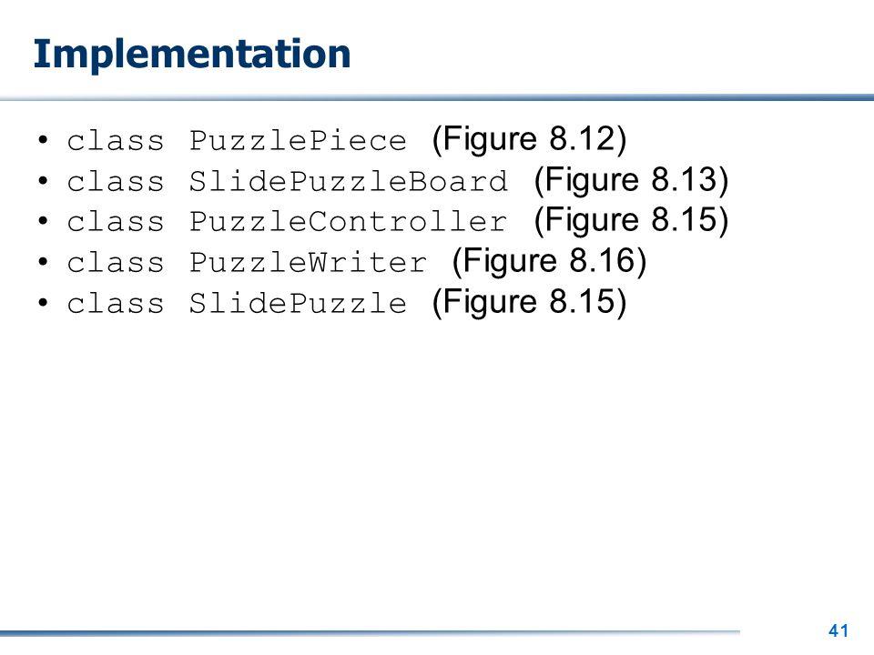 41 Implementation class PuzzlePiece (Figure 8.12) class SlidePuzzleBoard (Figure 8.13) class PuzzleController (Figure 8.15) class PuzzleWriter (Figure 8.16) class SlidePuzzle (Figure 8.15)
