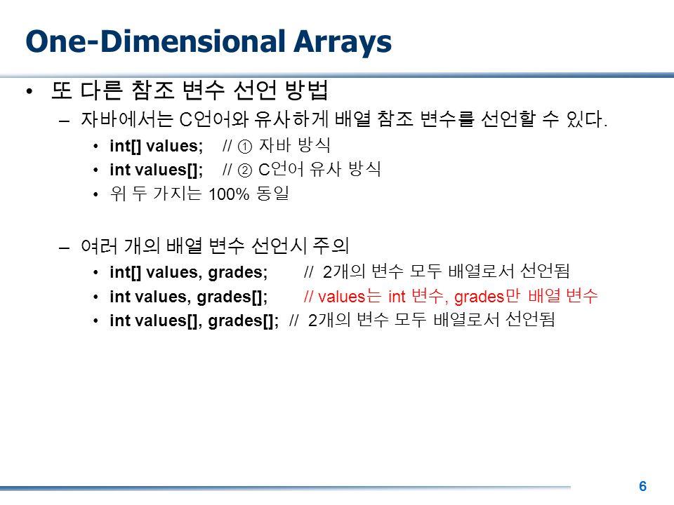 6 One-Dimensional Arrays 또 다른 참조 변수 선언 방법 – 자바에서는 C 언어와 유사하게 배열 참조 변수를 선언할 수 있다.