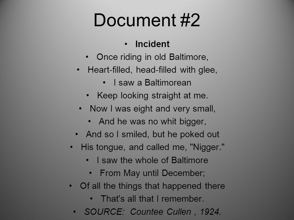 Document #2 Incident Once riding in old Baltimore, Heart-filled, head-filled with glee, I saw a Baltimorean Keep looking straight at me.