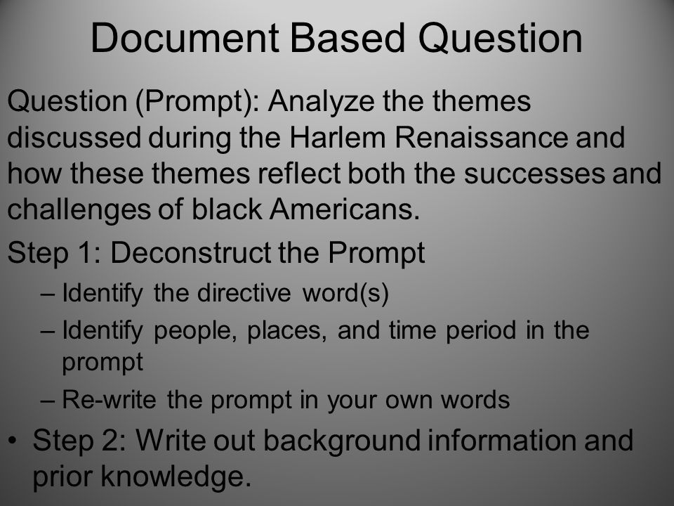 Document Based Question Question (Prompt): Analyze the themes discussed during the Harlem Renaissance and how these themes reflect both the successes and challenges of black Americans.