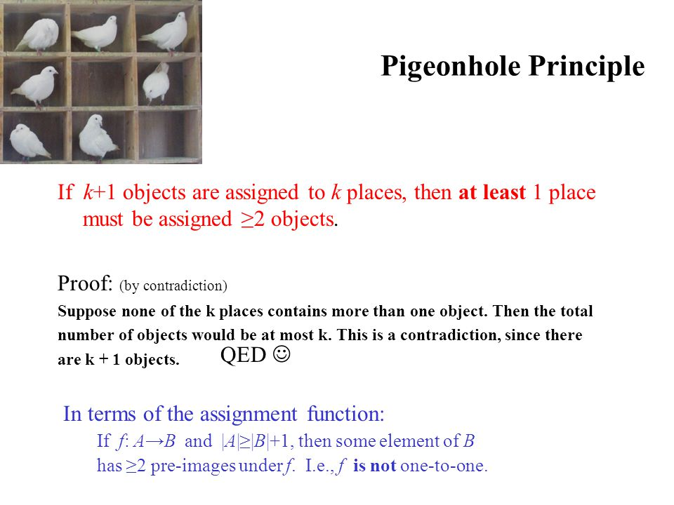 Pigeonhole Principle If k+1 objects are assigned to k places, then at least 1 place must be assigned ≥2 objects. Proof: (by contradiction) Suppose non