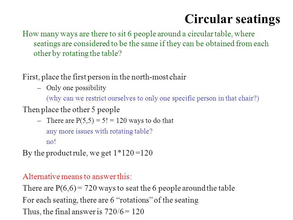 Circular seatings How many ways are there to sit 6 people around a circular table, where seatings are considered to be the same if they can be obtaine