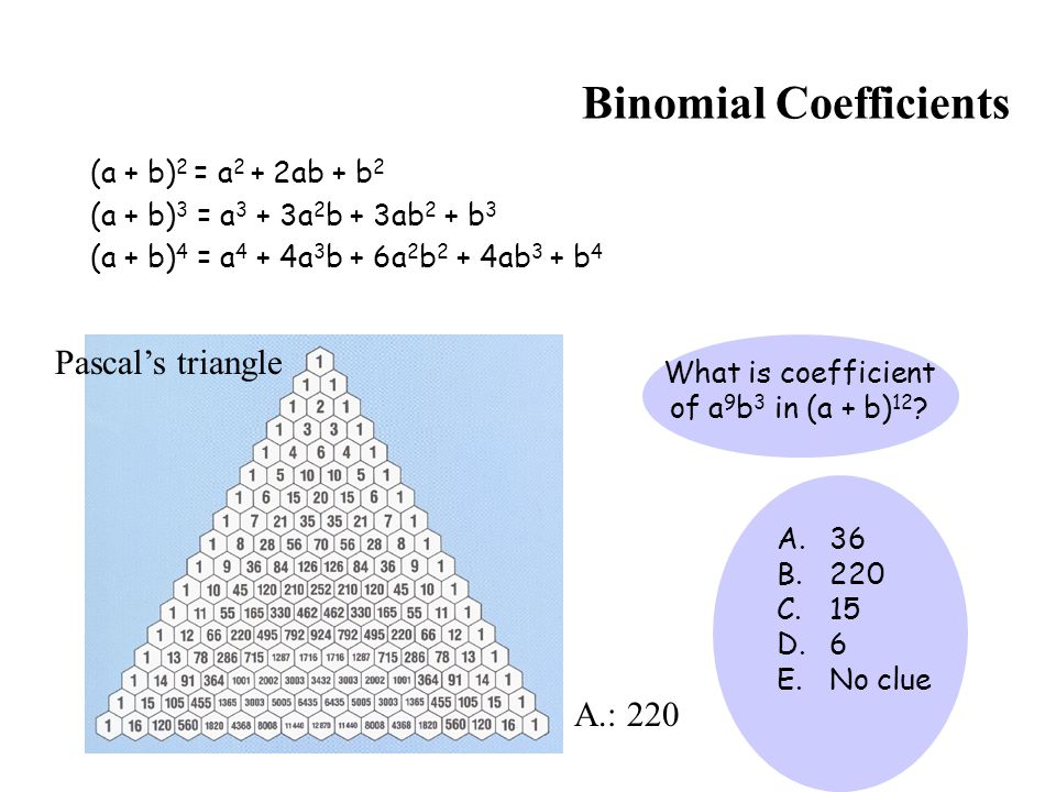 Binomial Coefficients (a + b) 2 = a 2 + 2ab + b 2 (a + b) 3 = a 3 + 3a 2 b + 3ab 2 + b 3 (a + b) 4 = a 4 + 4a 3 b + 6a 2 b 2 + 4ab 3 + b 4 What is coe