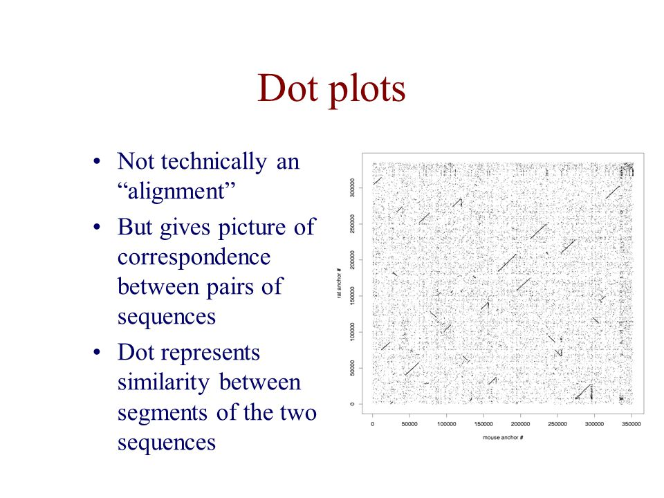 Dot plots Not technically an alignment But gives picture of correspondence between pairs of sequences Dot represents similarity between segments of the two sequences