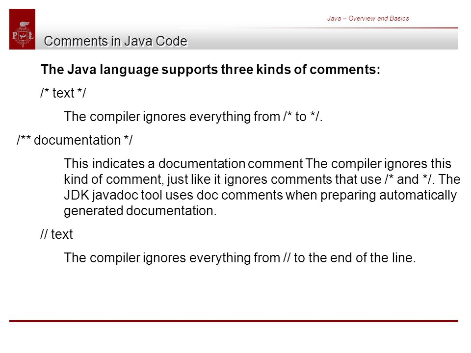 Java – Overview and Basics Comments in Java Code The Java language supports three kinds of comments: /* text */ The compiler ignores everything from /* to */.