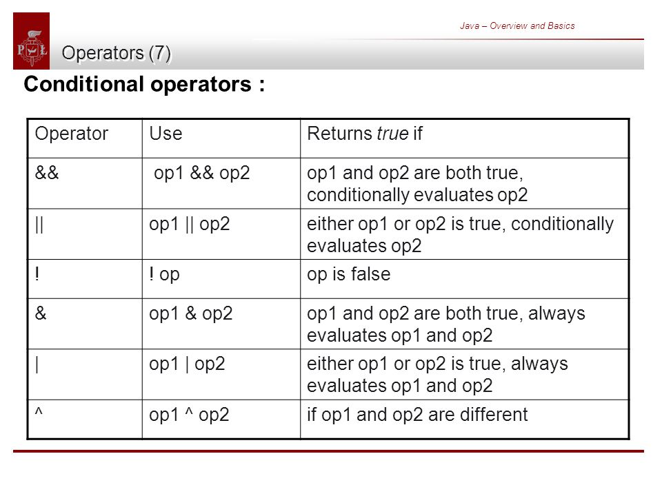 Java – Overview and Basics Operators (7) Conditional operators : OperatorUseReturns true if && op1 && op2op1 and op2 are both true, conditionally evaluates op2 ||op1 || op2either op1 or op2 is true, conditionally evaluates op2 !.