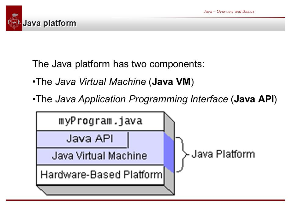 Java – Overview and Basics Java platform The Java platform has two components: The Java Virtual Machine (Java VM) The Java Application Programming Interface (Java API)