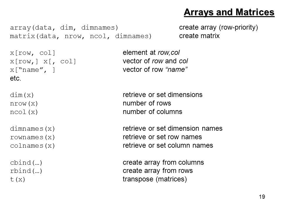 19 Arrays and Matrices array(data, dim, dimnames) create array (row-priority) matrix(data, nrow, ncol, dimnames) create matrix x[row, col] element at row,col x[row,] x[, col] vector of row and col x[ name , ] vector of row name etc.
