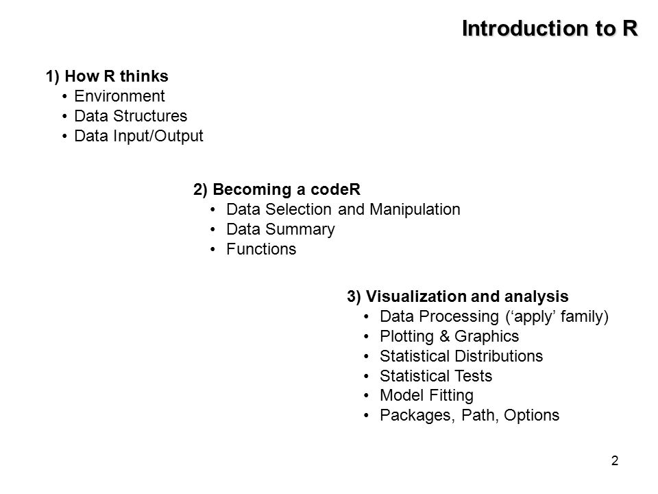 2 Introduction to R 1) How R thinks Environment Data Structures Data Input/Output 2) Becoming a codeR Data Selection and Manipulation Data Summary Functions 3) Visualization and analysis Data Processing ('apply' family) Plotting & Graphics Statistical Distributions Statistical Tests Model Fitting Packages, Path, Options