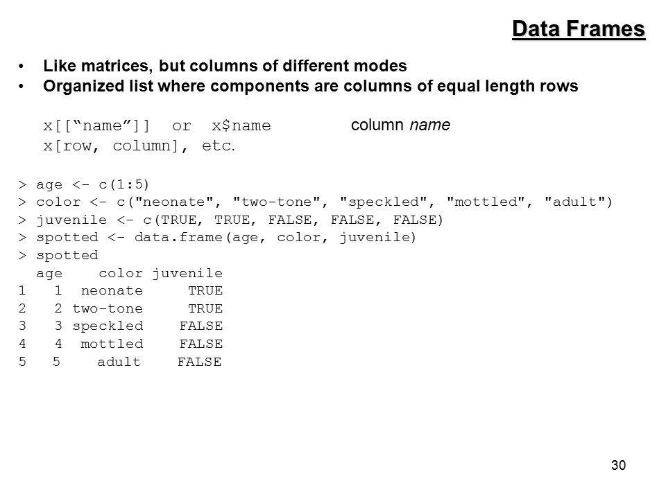 30 Like matrices, but columns of different modes Organized list where components are columns of equal length rows x[[ name ]] or x$name column name x[row, column], etc.