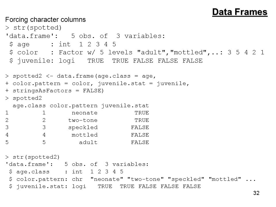 32 Forcing character columns > str(spotted) data.frame : 5 obs.