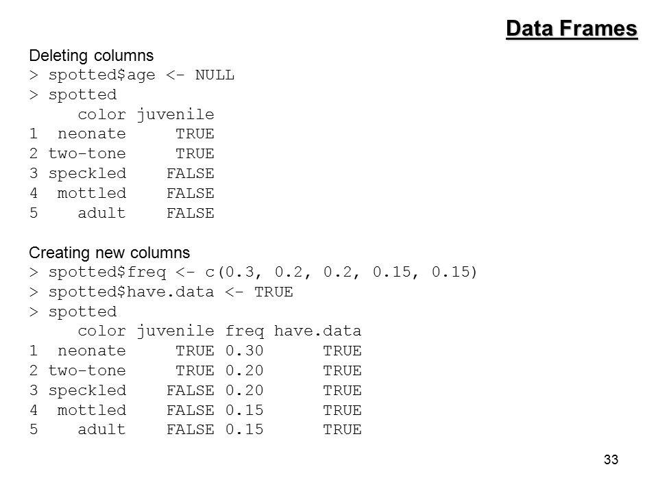 33 Data Frames Deleting columns > spotted$age <- NULL > spotted color juvenile 1 neonate TRUE 2 two-tone TRUE 3 speckled FALSE 4 mottled FALSE 5 adult FALSE Creating new columns > spotted$freq <- c(0.3, 0.2, 0.2, 0.15, 0.15) > spotted$have.data <- TRUE > spotted color juvenile freq have.data 1 neonate TRUE 0.30 TRUE 2 two-tone TRUE 0.20 TRUE 3 speckled FALSE 0.20 TRUE 4 mottled FALSE 0.15 TRUE 5 adult FALSE 0.15 TRUE