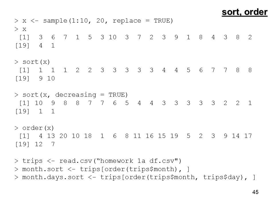 45 sort, order > x <- sample(1:10, 20, replace = TRUE) > x [1] 3 6 7 1 5 3 10 3 7 2 3 9 1 8 4 3 8 2 [19] 4 1 > sort(x) [1] 1 1 1 2 2 3 3 3 3 3 4 4 5 6 7 7 8 8 [19] 9 10 > sort(x, decreasing = TRUE) [1] 10 9 8 8 7 7 6 5 4 4 3 3 3 3 3 2 2 1 [19] 1 1 > order(x) [1] 4 13 20 10 18 1 6 8 11 16 15 19 5 2 3 9 14 17 [19] 12 7 > trips <- read.csv( homework 1a df.csv ) > month.sort <- trips[order(trips$month), ] > month.days.sort <- trips[order(trips$month, trips$day), ]