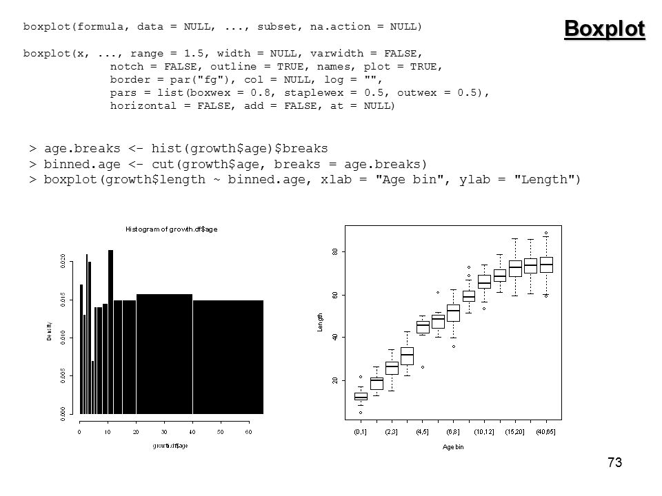 73 Boxplot boxplot(formula, data = NULL,..., subset, na.action = NULL) boxplot(x,..., range = 1.5, width = NULL, varwidth = FALSE, notch = FALSE, outline = TRUE, names, plot = TRUE, border = par( fg ), col = NULL, log = , pars = list(boxwex = 0.8, staplewex = 0.5, outwex = 0.5), horizontal = FALSE, add = FALSE, at = NULL) > age.breaks <- hist(growth$age)$breaks > binned.age <- cut(growth$age, breaks = age.breaks) > boxplot(growth$length ~ binned.age, xlab = Age bin , ylab = Length )
