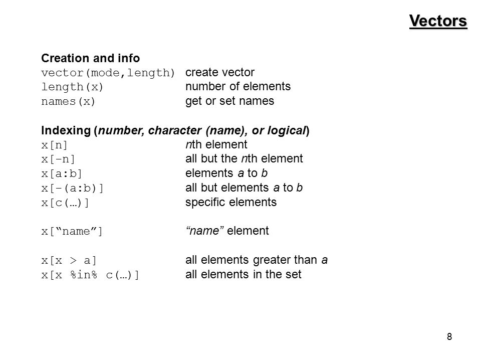59 for make.plates <- function(num.plates) { plate.vec <- vector( character , length = num.plates) for(i in 1:num.plates) { first.num <- sample(0:9, 1) chars <- sample(LETTERS, 3, replace = TRUE) chars <- paste(chars, collapse = ) last.nums <- sample(0:9, 3, replace = TRUE) last.nums <- paste(last.nums, collapse = ) plate.vec[i] <- paste(first.num, chars, last.nums, sep = , collapse = ) } plate.vec } check.plates <- function(plates, reserved) { bad.plates <- vector( character ) for(plate in plates) { plate.str <- substr(plate, 2, 4) if (plate.str %in% reserved) bad.plates <- c(bad.plates, plate) } bad.plates }
