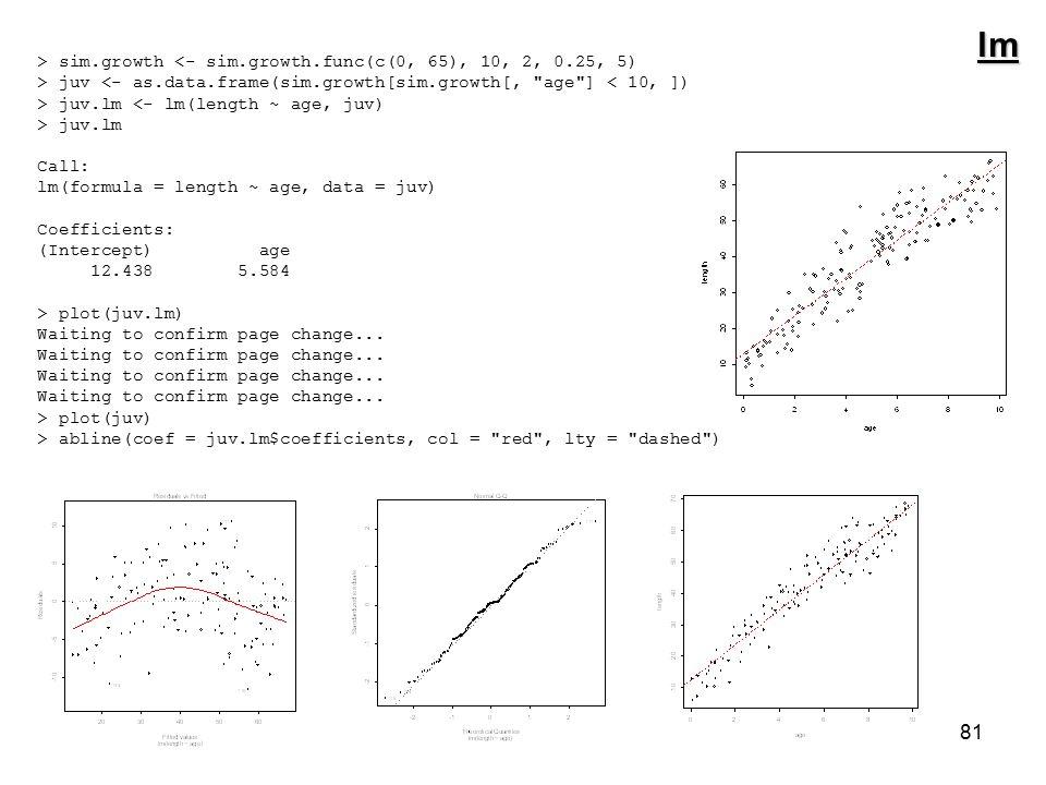 81 > sim.growth <- sim.growth.func(c(0, 65), 10, 2, 0.25, 5) > juv <- as.data.frame(sim.growth[sim.growth[, age ] < 10, ]) > juv.lm <- lm(length ~ age, juv) > juv.lm Call: lm(formula = length ~ age, data = juv) Coefficients: (Intercept) age 12.438 5.584 > plot(juv.lm) Waiting to confirm page change...
