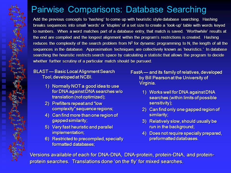 Pairwise Comparisons: Database Searching BLAST — Basic Local Alignment Search Tool, developed at NCBI.