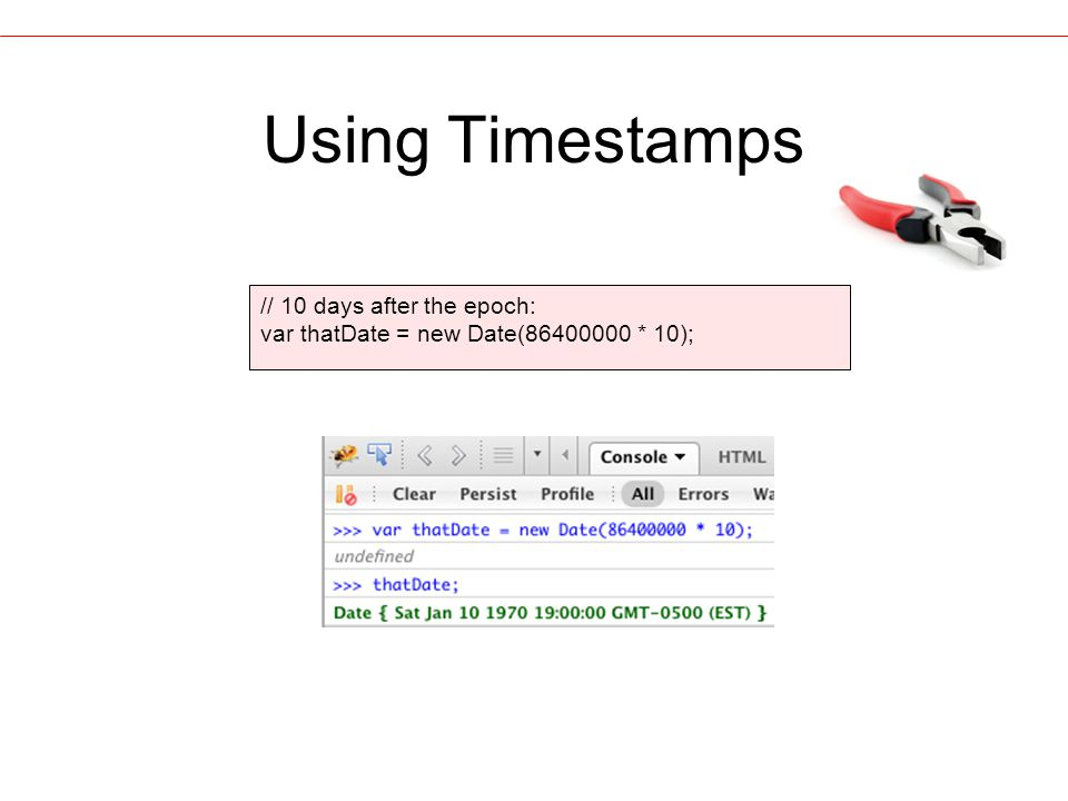 Using Timestamps // 10 days after the epoch: var thatDate = new Date(86400000 * 10);
