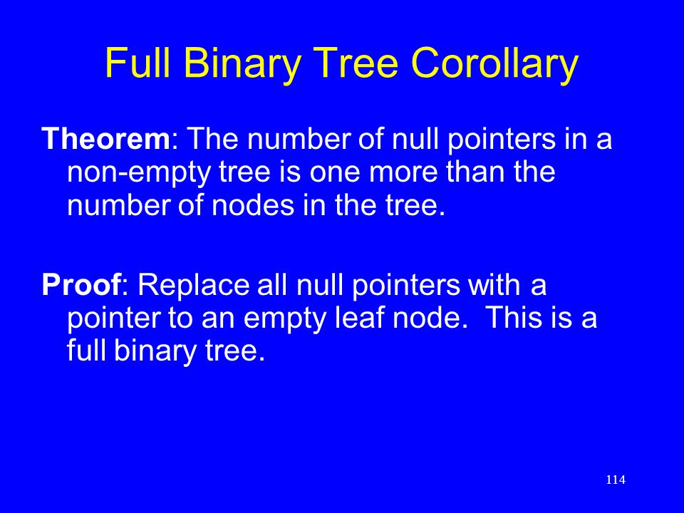 114 Full Binary Tree Corollary Theorem: The number of null pointers in a non-empty tree is one more than the number of nodes in the tree. Proof: Repla