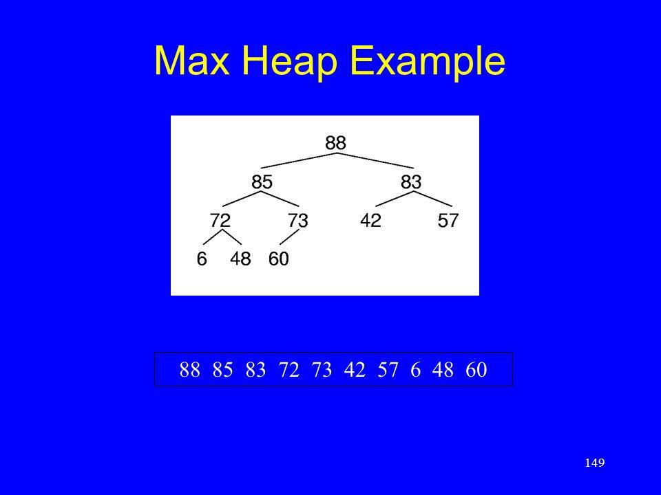 149 Max Heap Example 88 85 83 72 73 42 57 6 48 60